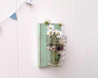 Seafoam wall vase wooden rustic flower mason jar sconce distressed - single