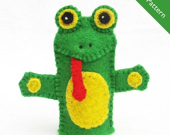Frog puppet etsy for Frog finger puppet template