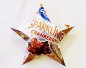 Ocean Spray Sparkling Juice Cranberry Ornament ,Aluminum Can Upcycled Repurposed