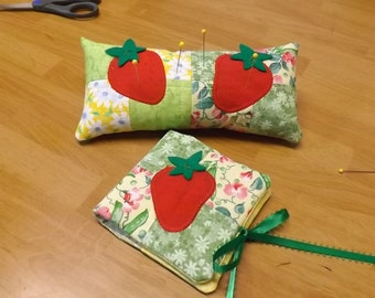 PIN CUSHION and Needle Holder Strawberries KSEW109