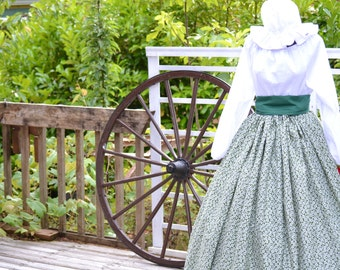 Custom listing Civil War Colonial Prairie Pioneer Day Dress print skirt blouse mop Hat
