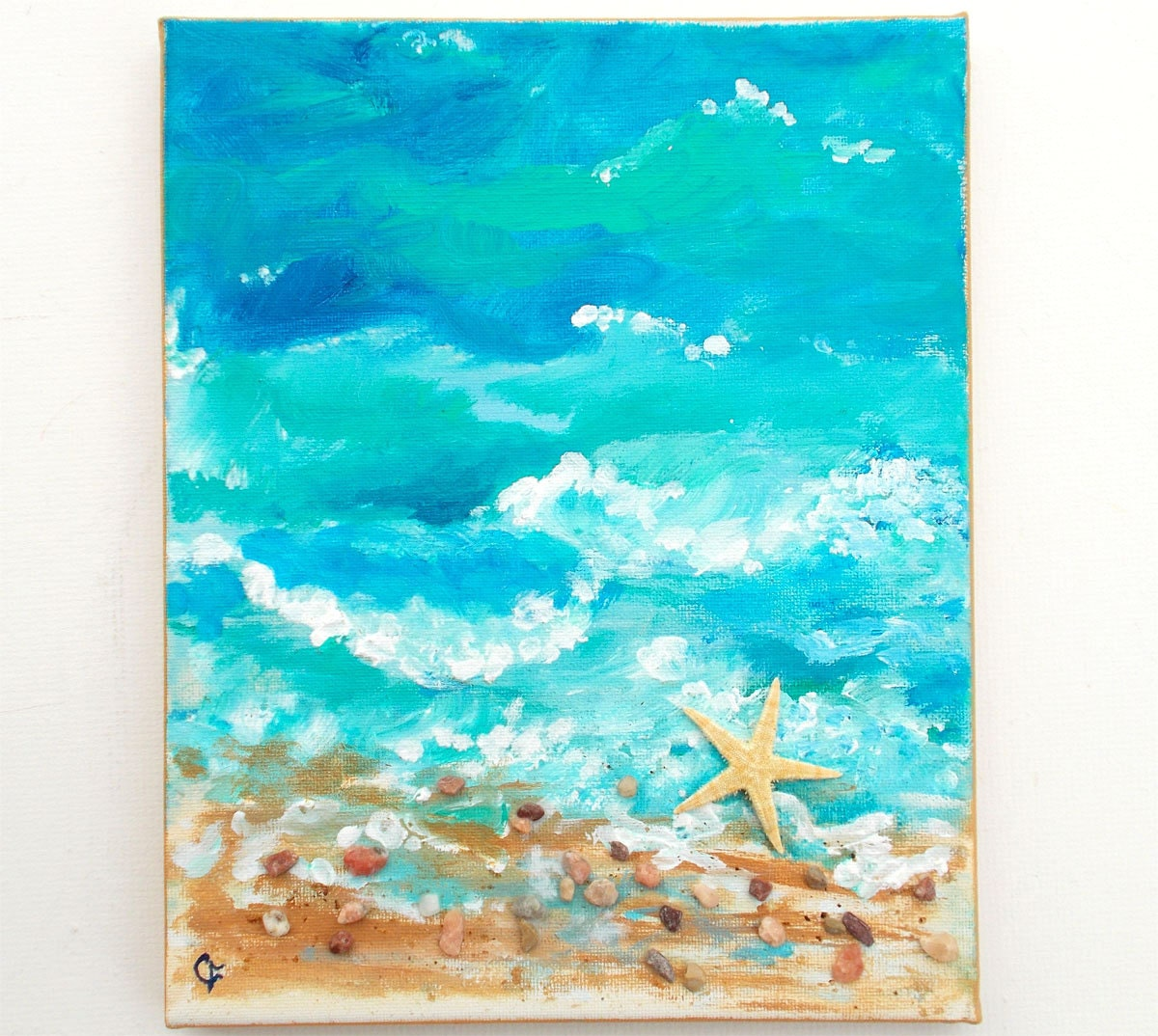 Beach painting with real starfish and small rocks dimentional for Couloir turquoise