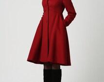 Coat,Red coat, hooded coat, Womens Coats, Wool Coat,long Coat,Winter Coat Woman,Winter Coat,Wool Jacket,winter jacket,dress coat,Gift 1117