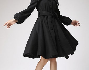 Black coat  wool coat with shawl collar winter jacket coat (710f1)