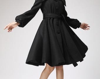 black coat,  wool coat with shawl collar, winter jacket, swing coat, custom made, tie belt waist, button coat, long lantern sleeves (710)
