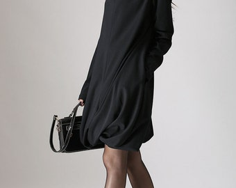 Black dress woman cotton mini dress Casual dress (830)