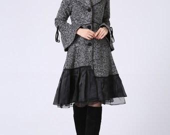 Dress coat, Womens Coat, Grey Coat, Wool Coat , Wool jacket, winter Jacket, designer clothing, unique clothing, winter fashion 1052