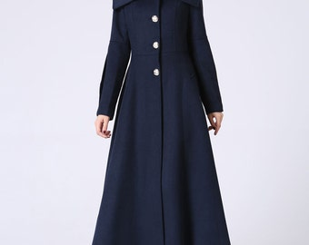 maxi coat, Long Coat, Blue coat, Winter Coat, wool coat, dress coat, womens coats, winter clothing, Mod clothing, swing coat,gift ideas 1054