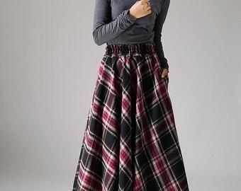 Maxi wool skirt women long skirt (1090)
