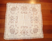 """Vintage Linen Doily Embroidered Cut Out White 29"""" X 29"""""""