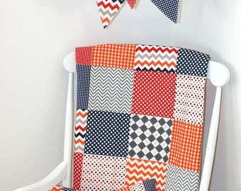Bunting Banner, Photography Prop, Fabric Flags, Nursery Decor - Red, Gray, Navy Blue, Orange, Chevron, Dots, Gingham