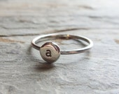 Initial Ring - Pebble Monogram Signet Ring - Stacking Ring in Sterling Silver