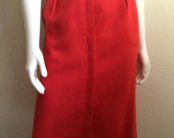 Vintage Women's 80's Pencil Skirt, Red, Fully Lined by JH Collections (M)
