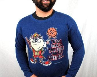 Vintage 90s Taz Tazmanian Devil Looney Tunes Basketball Sweatshirt