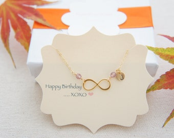 Personalized gold vermeil over sterling silver infinity necklace with birthstone - bridesmaids gift, wedding, modern, casual, tiny infinity