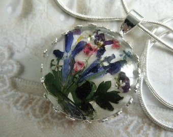 Blue Lobelia,Pink Heather,Alyssum,Queen Anne's Lace Pressed Flower Crown Pendant-Peaceful,Summer Paradise-Gifts Under 30-Nature's Art