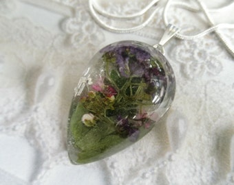 Pink, Purple & White Alyssum Pressed Flower Glass Teardrop Pendant-Gifts For 25-Symbolizes Worth Beyond Beauty-Nature's Wearable Art