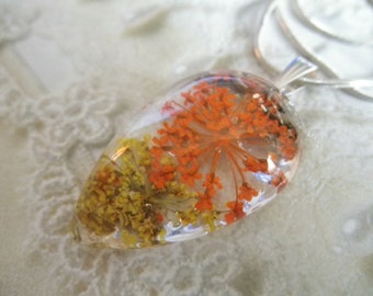 Yellow & Orange Queen Anne's Lace Glass Teardrop Pressed Flower Pendant-Gifts 25 And Under-Symbolizes Peace-Nature's Wearable Art