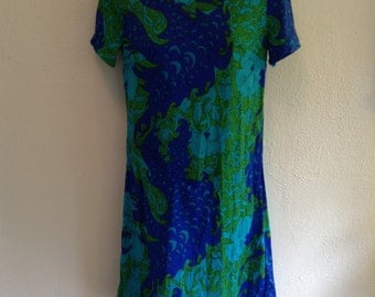 Vintage 1960 Psychedelic print dress. New old stock.  Mod print.  Ruth Walter design.