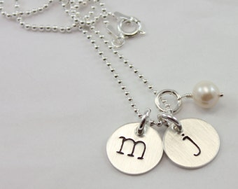 Sterling Silver Two Initials Letter Necklace with Freshwater Pearl