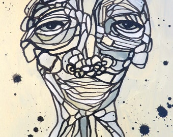 Portrait Painting Abstract Art  Original Funky Face by Julie Steiner