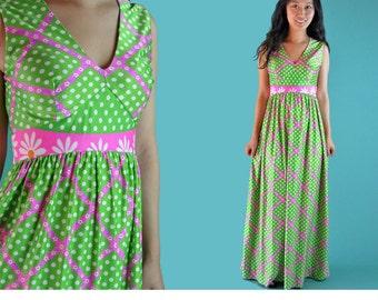 70s Vintage Bohemian Maxi Dress Empire Waist Mod Babydoll Hippie Dress Neon Daisy Floral Dotted Sleeveless Long Maxi Festival Dress XS / S