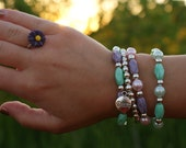 Turquoise & Lavender Stackable Bracelets.