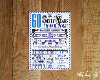 25 Hatch Print Surprise 60th Birthday Invitation - The Gould Collection - By My Lady Dye