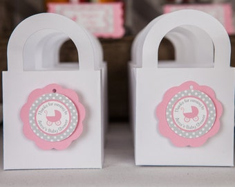 Pink Carriage Baby Shower Favor Tags - Baby Shower Decorations - Baby Girl Thank You Tags in Pink and Grey (12)