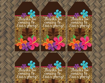 Hawaiian Luau Birthday Party - FAVOR TAGS - Printable Kids Luau Decorations - Printable Favor Hantags - DIY Hawaiian Birthday Party