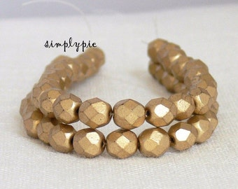 20% OFF Matte Metallic Gold, Czech Beads Fire Polished 6mm 25 Faceted Round GLass