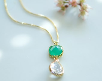 Emerald necklace, May birthstone jewelry, Emerald green necklace, Emerald wedding, may birthstone necklace, green and white wedding