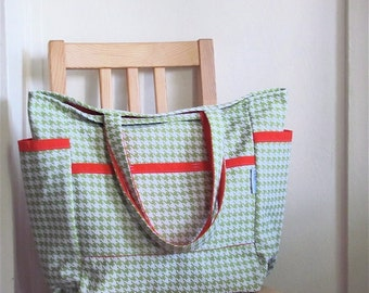 Maxine's Sweet Houndstooth Upcycled Weekender - Sage and White Mid Century Print Market / Diaper Bag - Eco Friendly Fall Fashion - Under 50