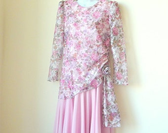 Mother of Bride Mother of Groom - Dress - MELISSA - 80s - Wedding - Size 10 - Flowers - Floral Pastel Lace - Pink - Modest - Long Sleeved