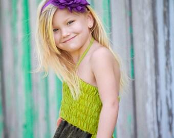 Purple Flower Headband, Jumbo Chiffon Rose Purple Headband or Hair Clip, The Emma, Baby Toddler Child Girls Headband