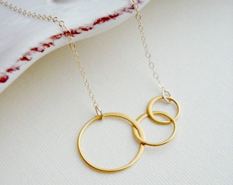 Gold Three Circles Necklace Gold Circle Necklace Modern Minimalist Jewelry Circle Necklace Crescent Family Necklace Everyday Jewelry