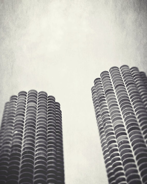 Chicago Wall Decor - Home Decor Art Prints, Chicago Photography, Marina Towers, black and white, urban decor, Chicago art, architecture
