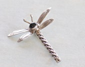 Vintage Sterling Silver and Onyx Dragonfly Brooch Pin (B-1-5)