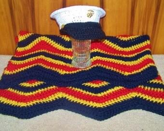 Marine Corps Baby Gift - Marine Corps Baby Outift - Baby Blanket And Hat - New Baby Marine - Marine Baby Gift - Hobbyist License #21512