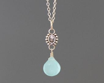 Aqua Chalcedony Necklace - Bali Silver Pendant - Wire Wrapped Pendant Silver - Chalcedony Jewelry - Silver Link Necklace - Green Gemstone