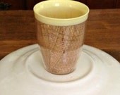 Yellow Burlap or Raffia Cup Mid Century Yellow Burlap Cup Drinking Cup