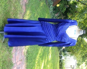 80s Cocktail Dress, Dance Dress in Cobalt Blue Dress, 80s Dress, Vintage Dress by Morton Myles with Asymmetrical Ruched Bodice Size 6