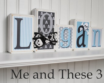 Wood letter name blocks-Custom to your style-pirate boy grey black blue white