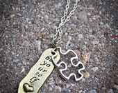 Autism Awareness Necklace - Puzzle Piece Be Yourself