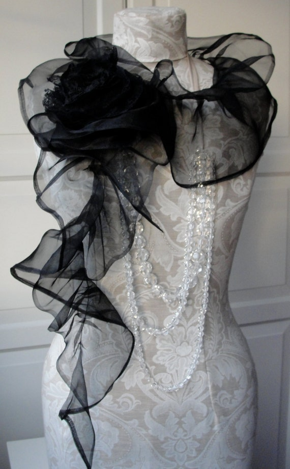 Structured Evening SCARF in SILK organza with Rose pin by Fairytale13 - black.