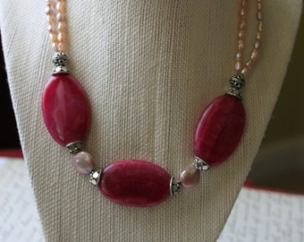 SALE Beadwork Necklace, Pearl Beadwork Necklace, Pearl Multistrand Necklace, Beadwork Multistrand Necklace