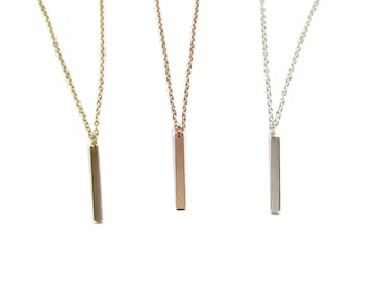Minimal Gold Bar Necklace, Vertical Bar Necklace, Dangling Bar Necklace-- Gold Filled, Sterling Silver, Rose Gold Filled