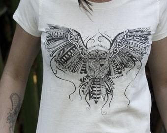 Organic Owl Love Womens Slim Fit T-shirt