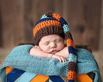 Elf Hat in Chocolate, Orange, Navy, & Aquamint