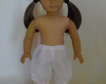 White Bloomers Pantaloons for 18 inch American Girl Doll
